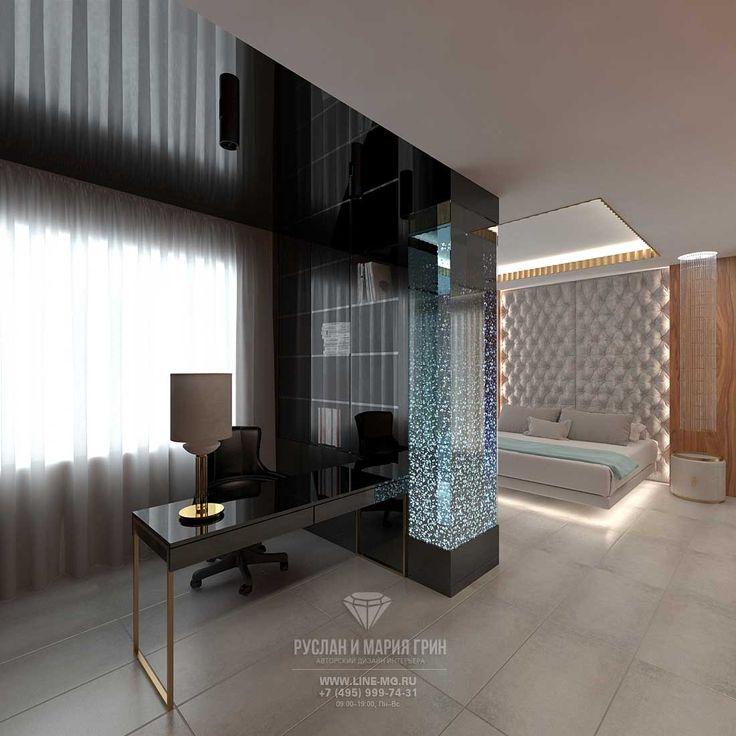 Дизайн спальни с кабинетом в загородном доме в Испании http://www.line-mg.ru/dizayn-zagorodnogo-doma-v-ispanii-foto-2016