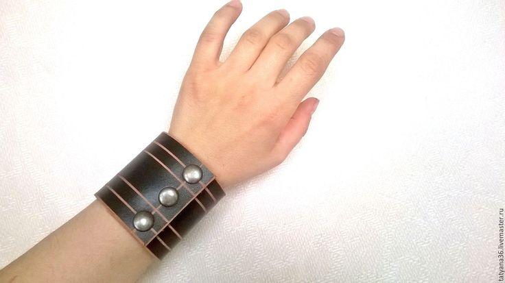 Купить Браслет кожаный - коричневый, Браслет ручной работы, браслет кожаный, украшения из кожи