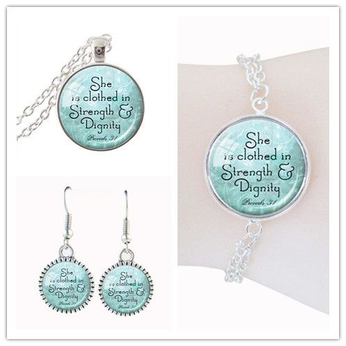 direct selling Proverbs 31 Jewelry sets Aqua Scripture Jewellery Christian Gift for Her Religious Quote picture jewelry sets