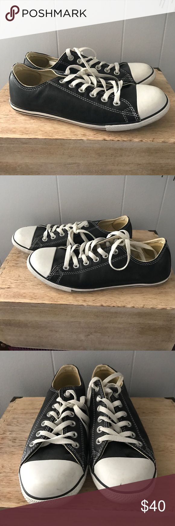 Black leather converse sneakers Classic black converse sneakers in leather. Worn only once. Converse Shoes Sneakers