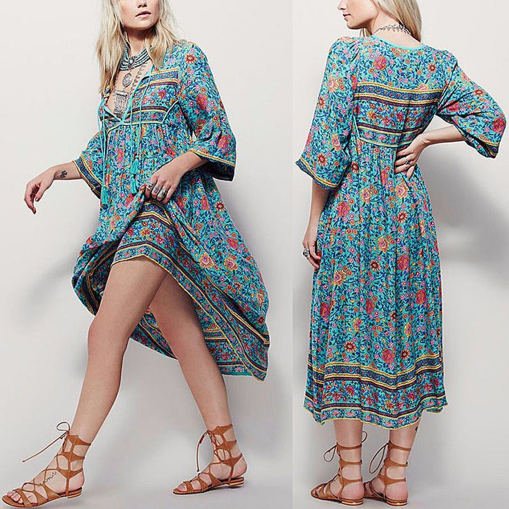 Womens Fashion Casual Beach Bohemia Boho 3/4 Ärmel Sommerkleid Sundress locker