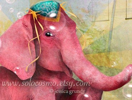 Senora Beatriz el elefante rosa ACEO/ATC Artists by solocosmo