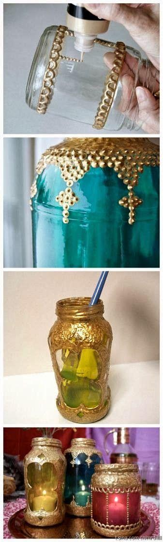 Schilder potten met glasverf of lijm met glitters. Paint jars or glue them