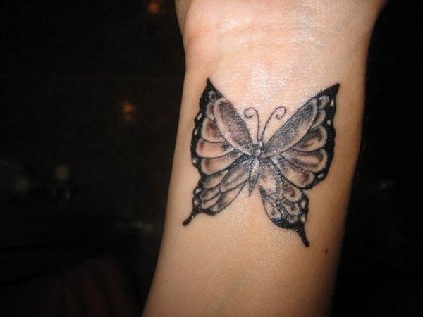 Wrist Black Butterfly Tattoo for Girls