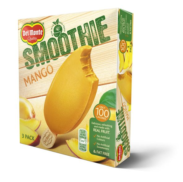 Jäätelön sijaan smoothie-puikko. Makuina mango ja vadelma.