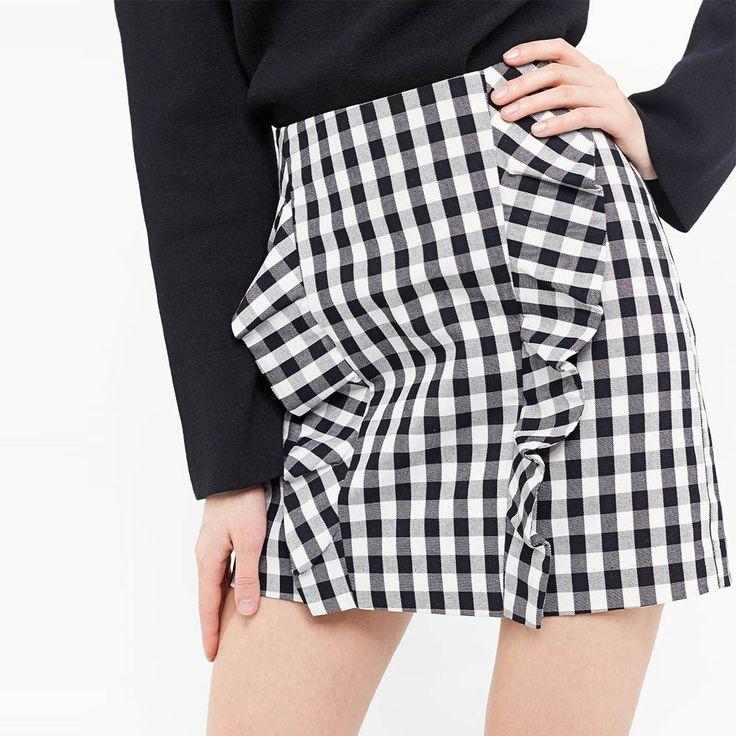 Elegant Ruffles Plaid Checkered Contrast Color Skirts Faldas Mujer Back Zipper Retro Stylish Women Work OL Mini Brand Q17-03-28