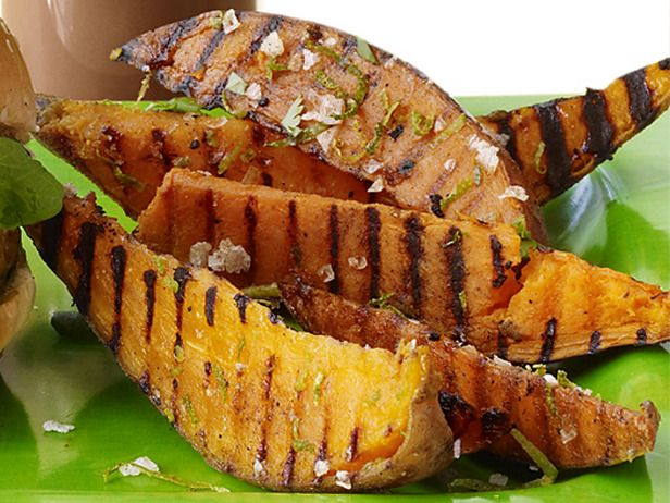 Grilled Sweet Potatoes with lime and cilantro...amazing! Great with tri tip..an Armstrong summer favorite! Thanks Bobby Flay!