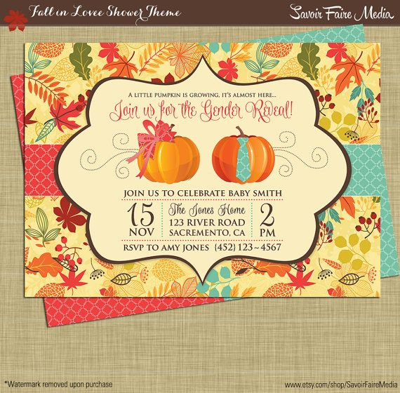 Fall Gender Reveal Invitation //  Pumpkin Patch Autumn Theme Gender Reveal Party Printables //  Boy or Girl Theme // Leaves Fall Autum Theme
