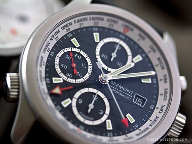 The Bremont World Timer, ALT1-WT/BK  This watch is available in black, blue and white.