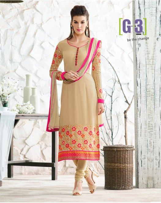 Traditional Multi Thread Cream Georgette Dress Material