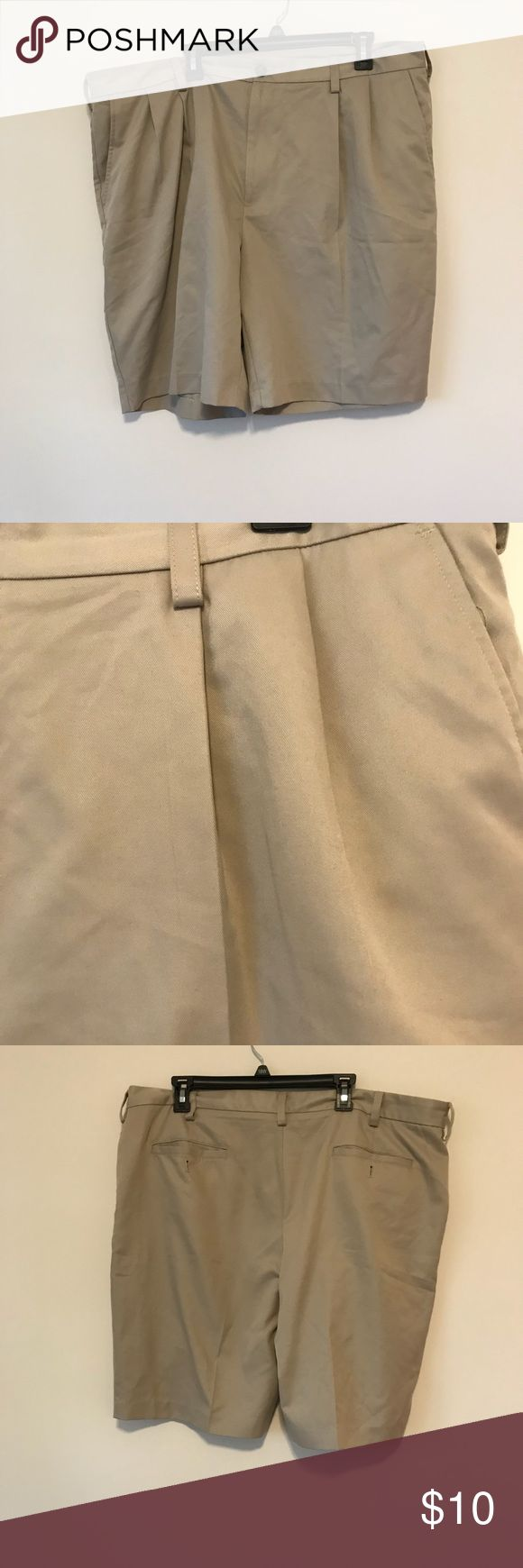 MENS KHAKI SHORTS Pleated. Perfect for looking nice in the summer. Great condition. Size 42,  From a smoke and pet free home. Izod Shorts