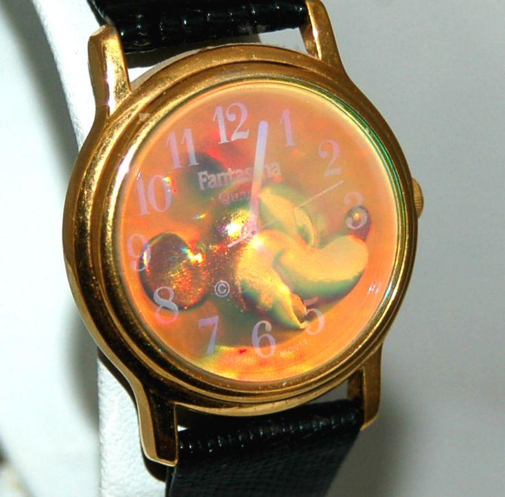 "Mickey Mouse ""Fantasia"" Hologram Watch Black Leather Lizard Grain Band MUSTC #Fantasia #CartoonIdol"