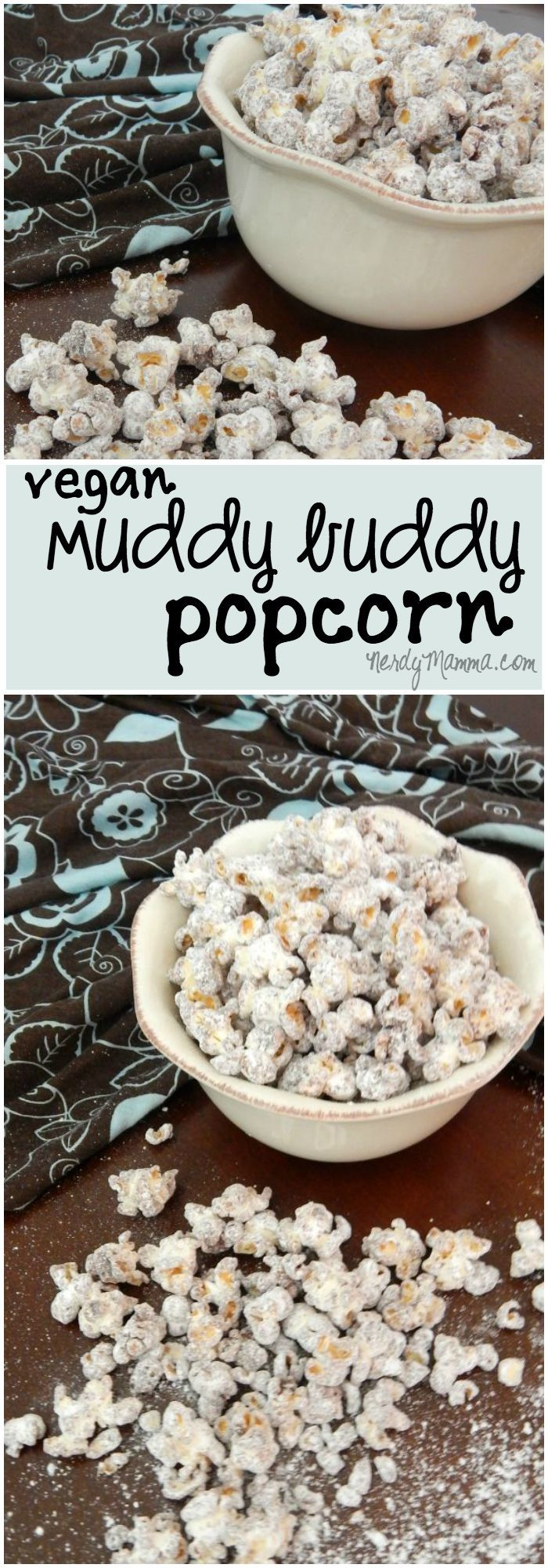 This popcorn recipe is the perfect vegan alternative to muddy buddies! Dairy-Free and Nut-Free, it's so good...
