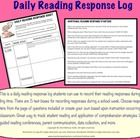 Daily Reading Response log for students to record their reading responses during any reading time. CCSS aligned response starter questions. Easily adaptable for grade 3 through high school. FREE!