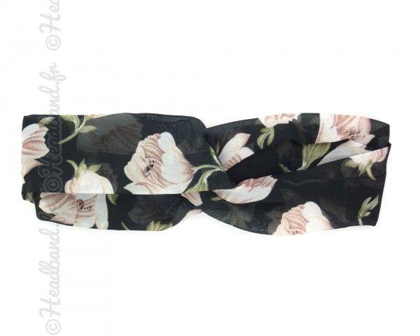 Bandeau noir grandes fleurs accessoires cheveux pinterest for Cama 0 90 x 1 90