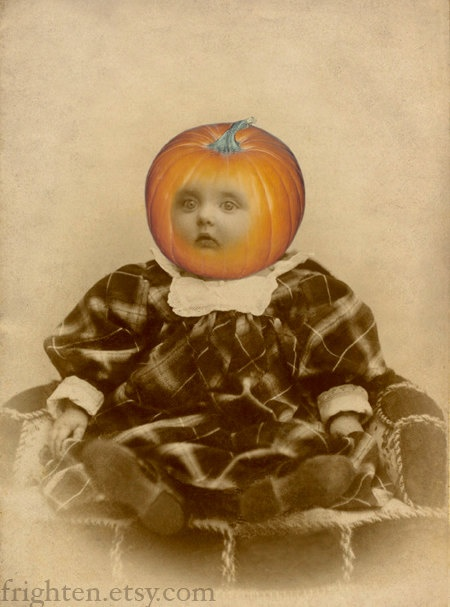 we cant think of anything creepier to decorate your home for halloween with than altered antique photos we chose baby pumpkin head solel - Antique Halloween Decorations