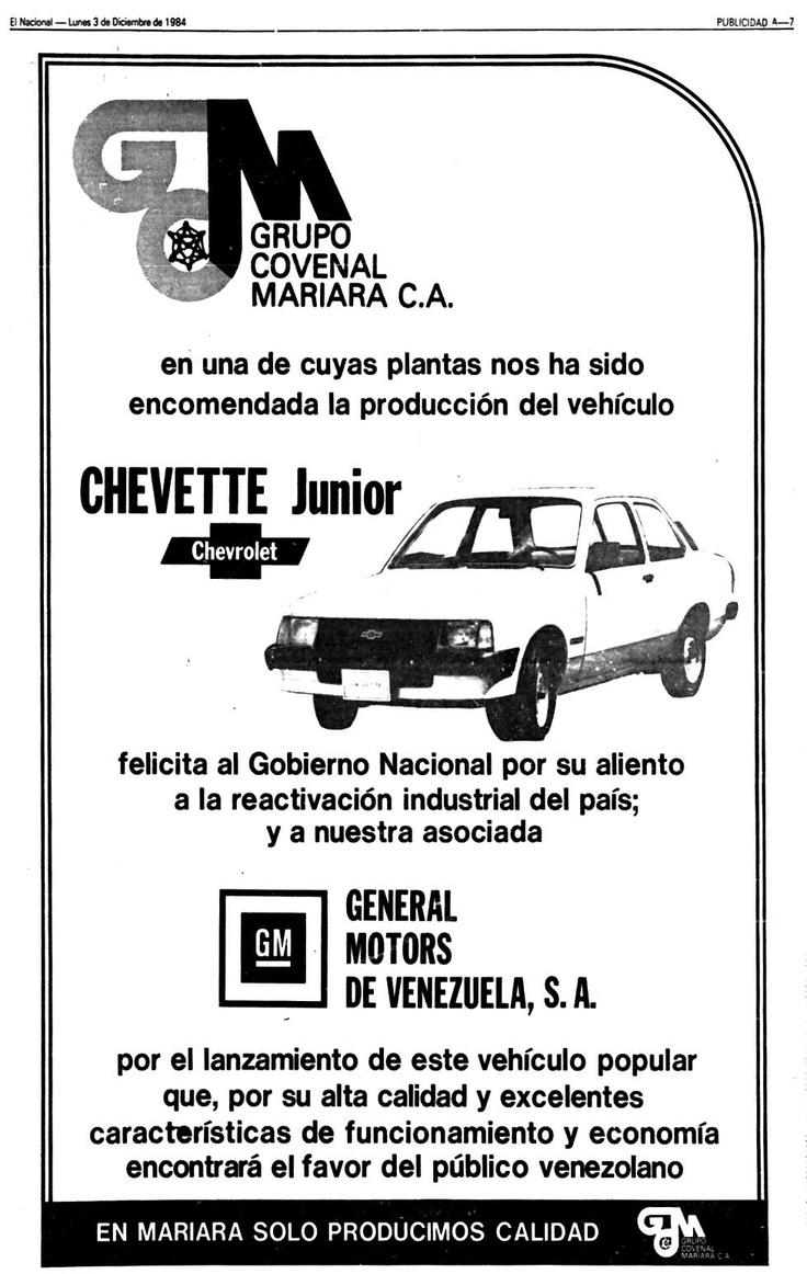Chevette Junior. Publicado el 03 de diciembre de 1984.