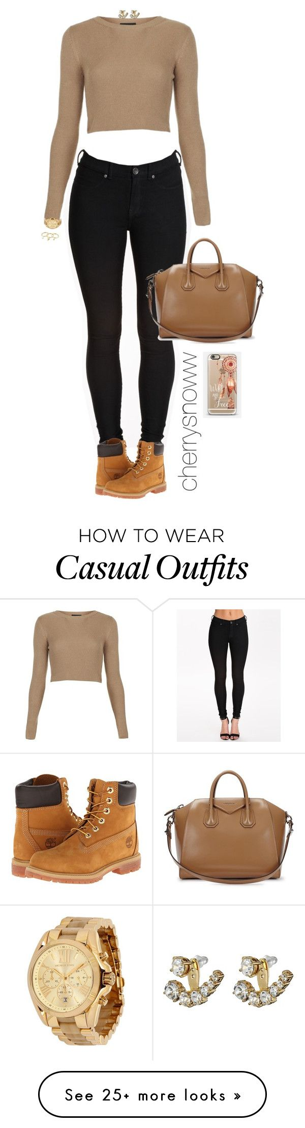 """Black and beige casual chic swag fall outfit"" by cherrysnoww on Polyvore featuring Dr. Denim, Topshop, Timberland, Givenchy, Michael Kors, Kate Spade, Rebecca Minkoff and Casetify"
