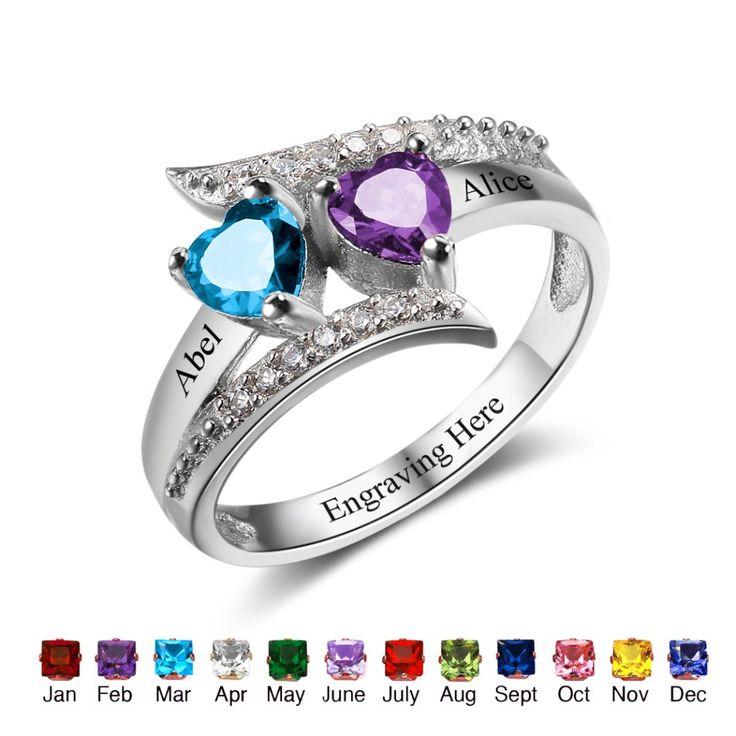 2 Heart Gemstones Custom Ring - Belis Delights