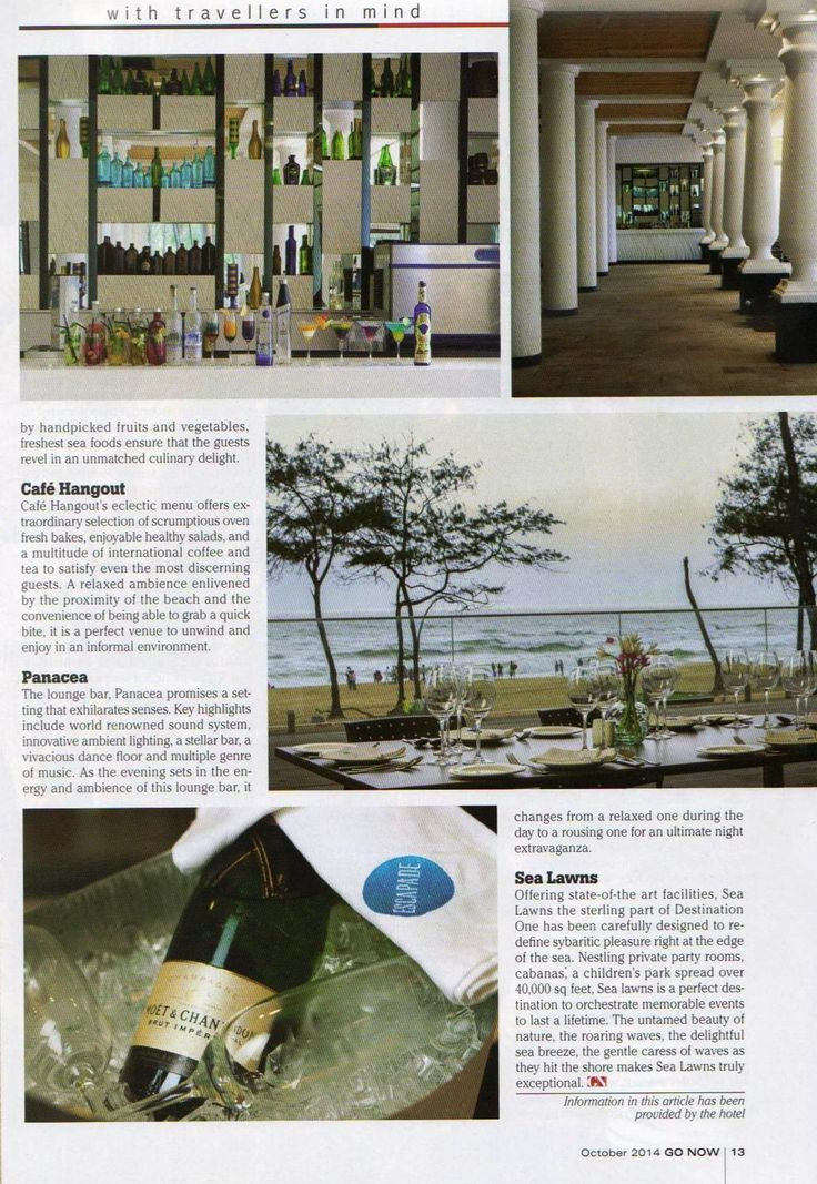 Destination One, #Goa featured in GO NOW, a leading #travel magazine, October 2014. Page (2/2)
