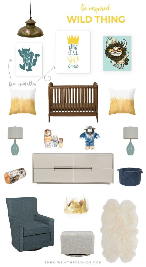 Where The Wild Things Are Nursery | If you love the classic book and want to design a modern nursery around this book, then click through to find all the sources + 2 FREE wall printables!