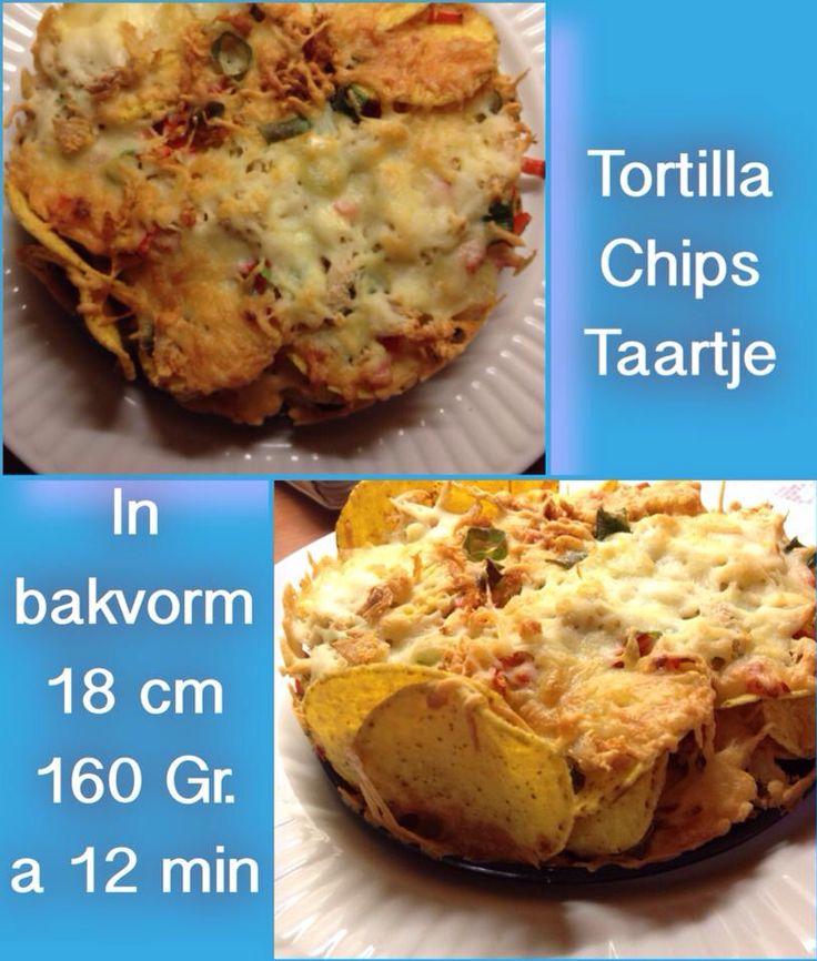 Tortilla chips in bakvorm, rtoen bosuitjes erop, zoete paprika gesneden, beetje knoflook , kipfilet ( kipfilet gekookt met vork in sliertjes getrokken) en daarna speciale geraspte kaas erover heen van de AH voor ovenschotels. Volgende Keer wil ik er wat tomatenblokjes tussen doen dan is het wat minder droog, maar zure room kan natuurlijk ook. En wanneer het uit de AF komt bakblik op een bord , ring eraf en bleef netjes in zijn vorm staan. Recept via FB van Mary West.