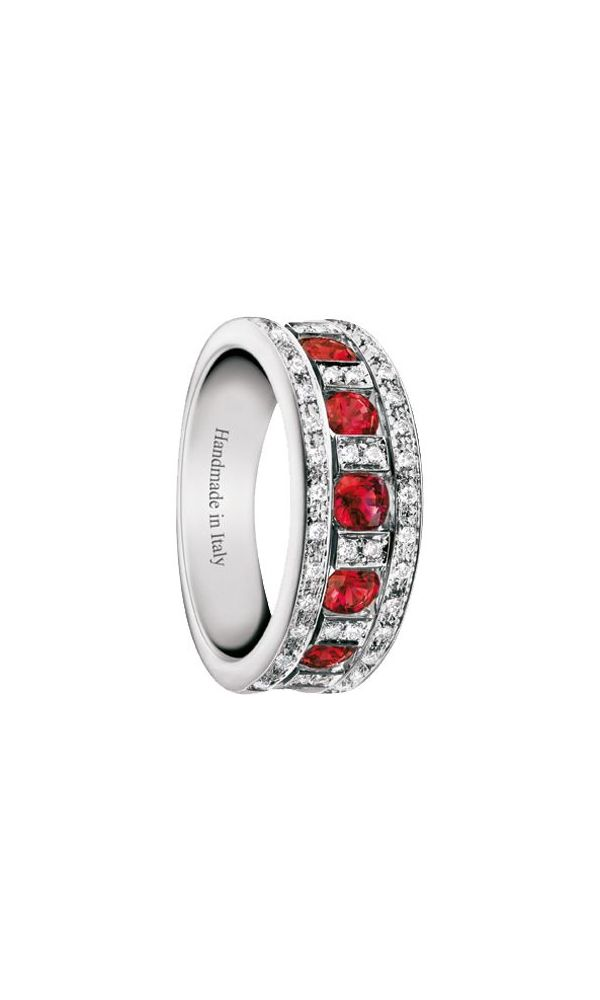 Belle Époque white gold, diamonds and rubies ring