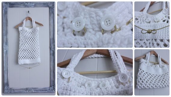 Erica Pennie Layne / Etsy / For Sale / Buy Now / White Crochet Bag with Gold Details / Beach Bag / Women's Oversized Handbag / Summer Cotton Boho Purse / Vintage / Adjustable