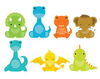 Baby Dinosaur Clipart PERSONAL USE Instant Download