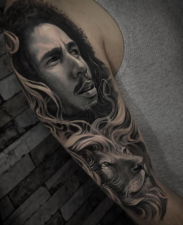 David Garcia @davidgarciatattoo Black and Grey and Grey Bob Marley portrait (with lion)