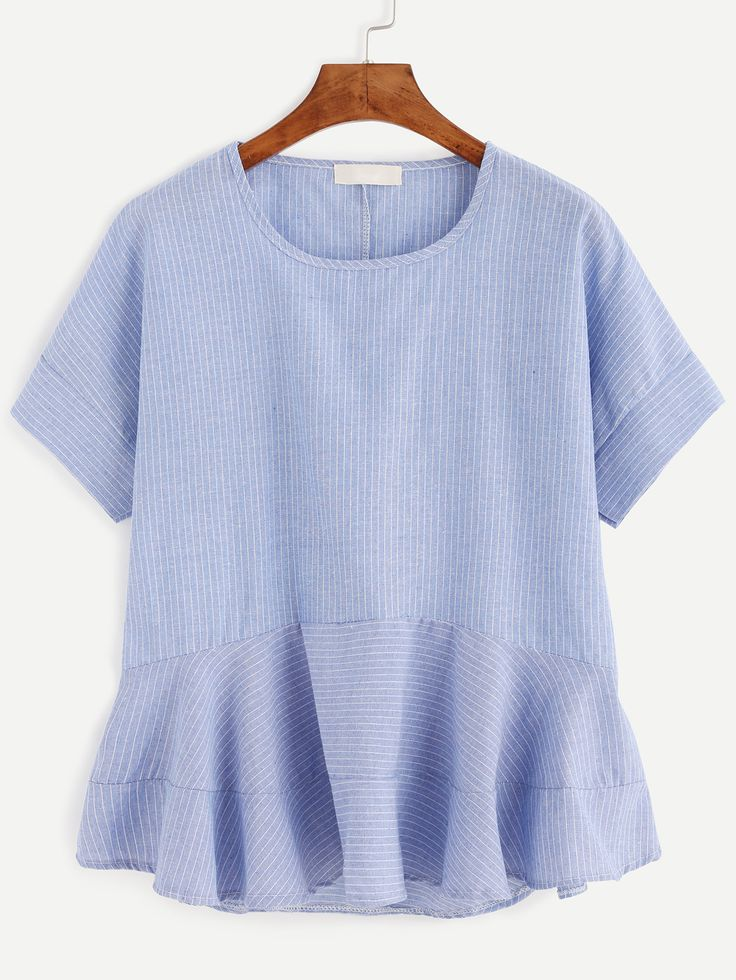 Shop Blue Vertical Striped Ruffle Hem Blouse online. SheIn offers Blue Vertical Striped Ruffle Hem Blouse & more to fit your fashionable needs.