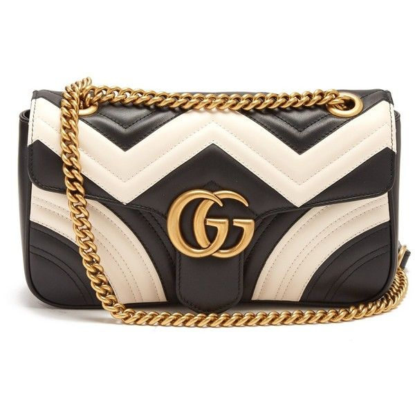 Gucci GG Marmont quilted-leather shoulder bag (7.900 BRL) ❤ liked on Polyvore featuring bags, handbags, shoulder bags, black white, quilted chain purse, quilted leather shoulder bag, gucci handbags, evening purses and black and white purse