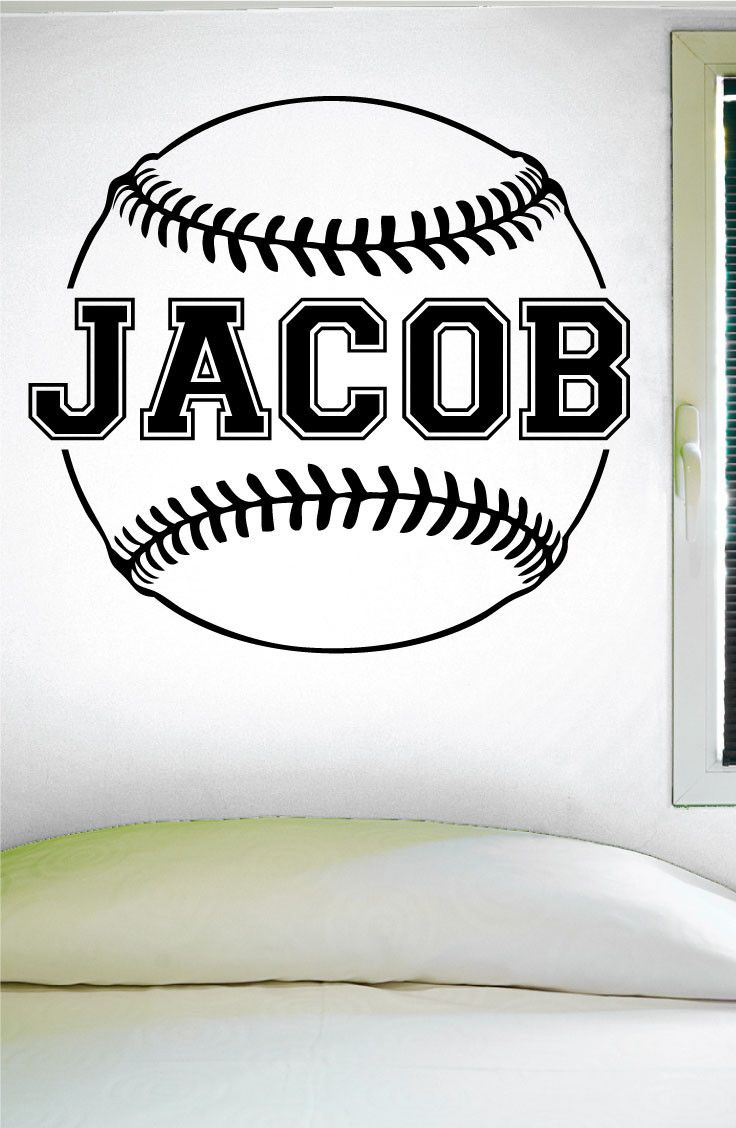 "Custom Baseball Name Wall Decal - 0124 -- PRODUCT NO. 0124 -- -- When checking out, please type the name you want for your decal in the ""Phone optional"" tab when you fill out your contact information."