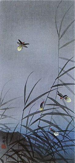 """Ohara Koson 1934 """"Fireflies"""" woodblock"""