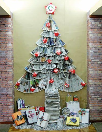 10 árboles De Navidad Hechos Con Papel De Periódico | Ideas Eco