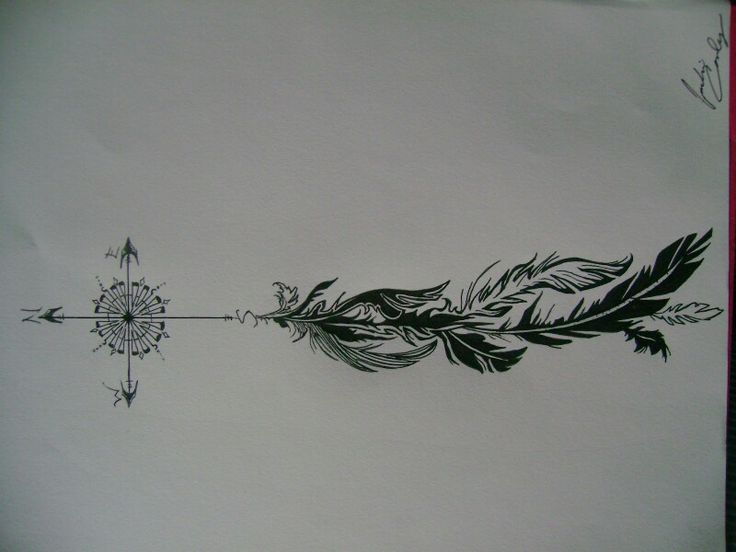 Compass feather | hand tattoo | Pinterest | Feathers and ...