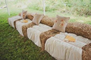 Wedding, Reception, Rustic, Seating, Hay, Bails