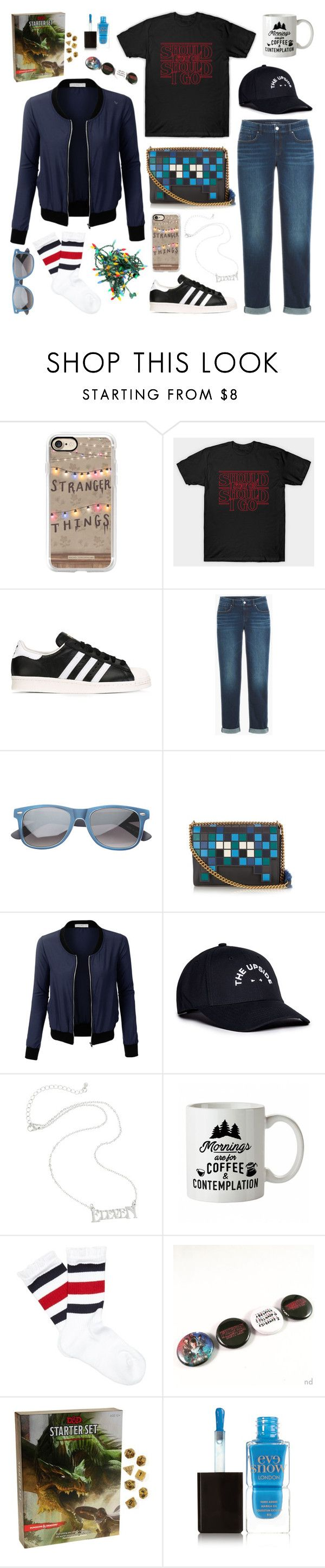 """""""Look for 'Stranger Things'"""" by inspiredsara ❤ liked on Polyvore featuring Casetify, adidas Originals, Anya Hindmarch, LE3NO, The Upside, Gucci and Eve Snow"""