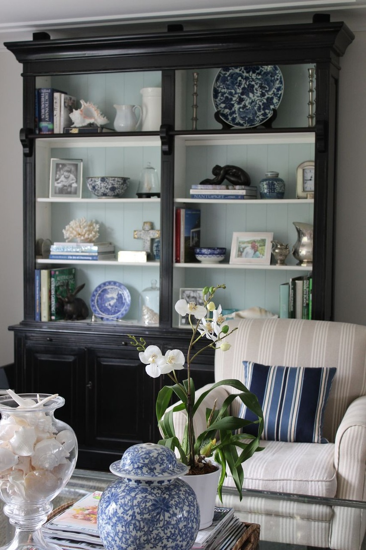 Painting the back of this hutch such a soothing blue it perfect