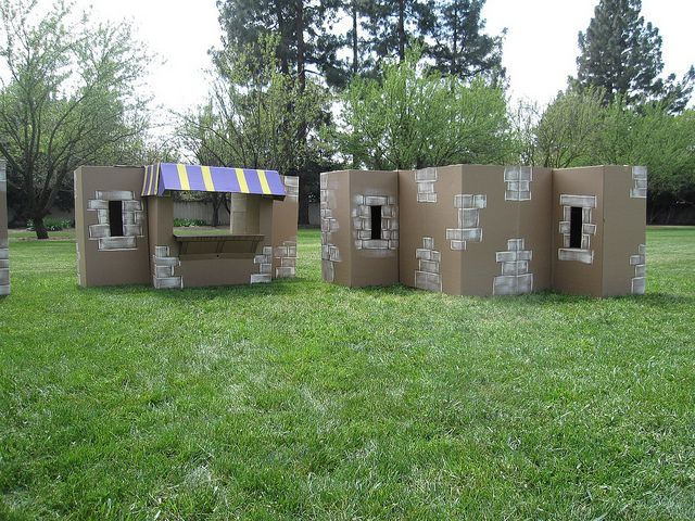 Biblical Village made from cardboard boxes.