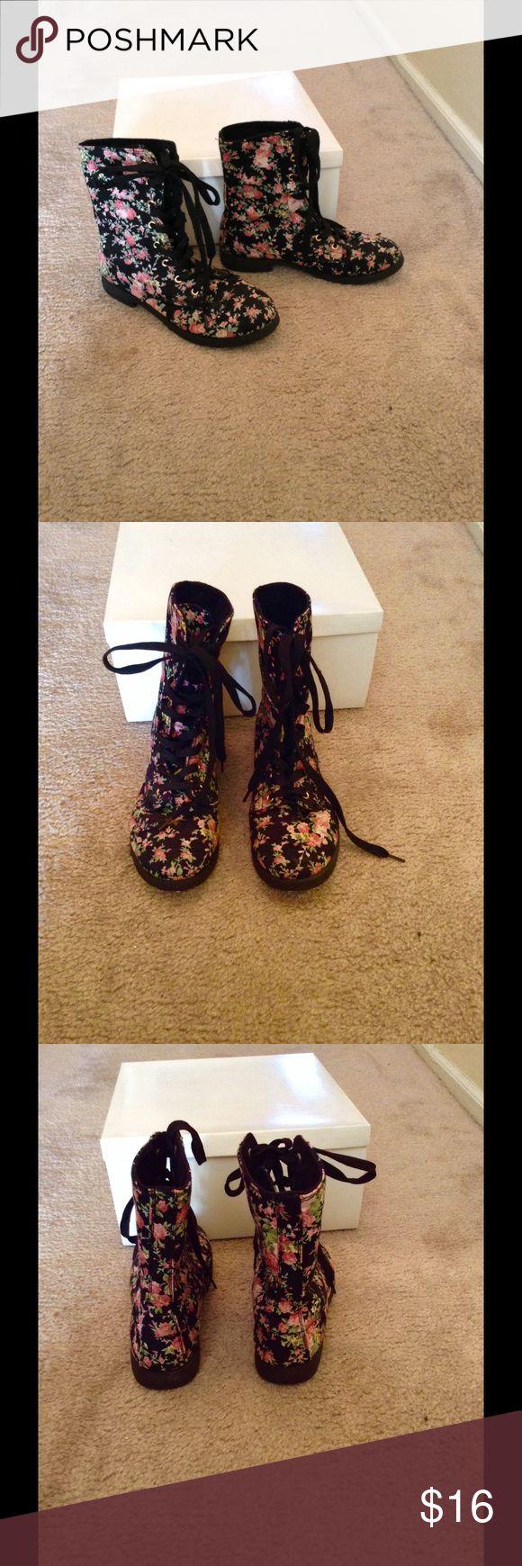 Floral combat boots Pretty floral design, pink / black/green , black lace up combat boots. Size 6 . A re-posh, not my style. Not sure how t wear them E.T.C. Shoes Combat & Moto Boots