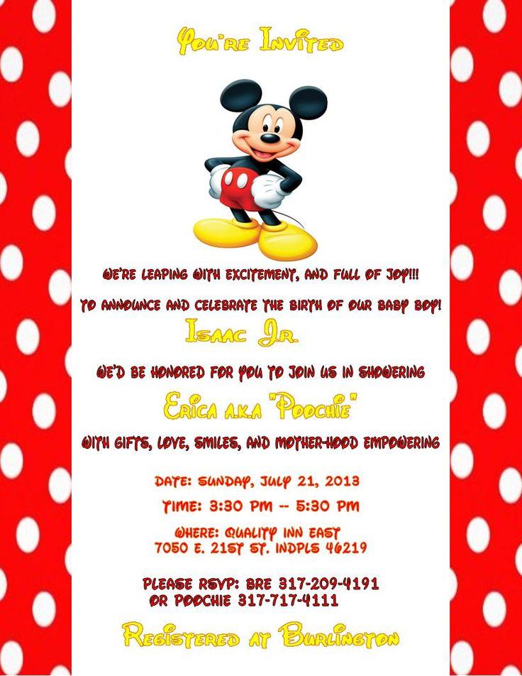 Free Mickey Mouse Baby Shower Invitation Templates 28 Images