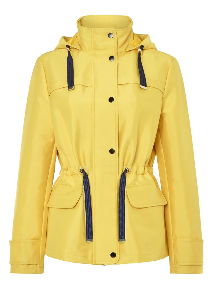 A yellow cotton rich finish lends itself perfectly to this nautically-inspired hooded jacket. Completed with navy drawstrings, gold-tone hardware, and button fastening down the front, this piece is a must-have for rainy days. Team yours with tall wellies and you