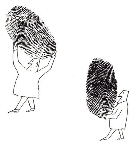 """Saul Steinberg/ altijd """"bij de hand"""", onze eigen vingerafdruk...en de rest is fantasie"""