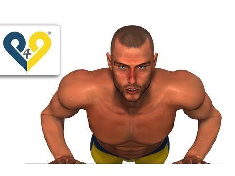 Flexión con rodilla apoyada. Manos amplitud tórax. Ejercicio para pectoral interno. Triceps.