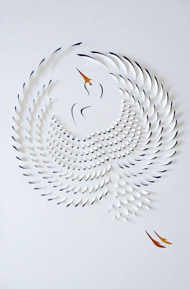Australian paper artist Lisa Rodden cuts, slices, and folds thick layers of white paper on top of acrylic painting that is occasionally accompanied with text. The small geometric cuts reveal windows of paint creating a strikingly precise interplay of color and shadow.