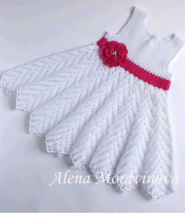 crochet charming dress for little girls.