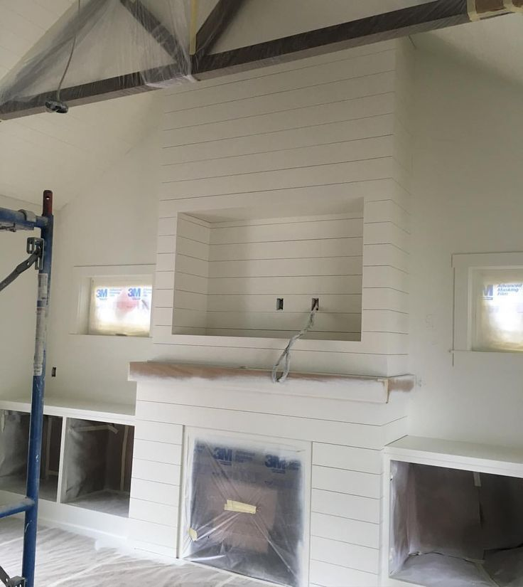 gas fireplace with shiplap - Google Search