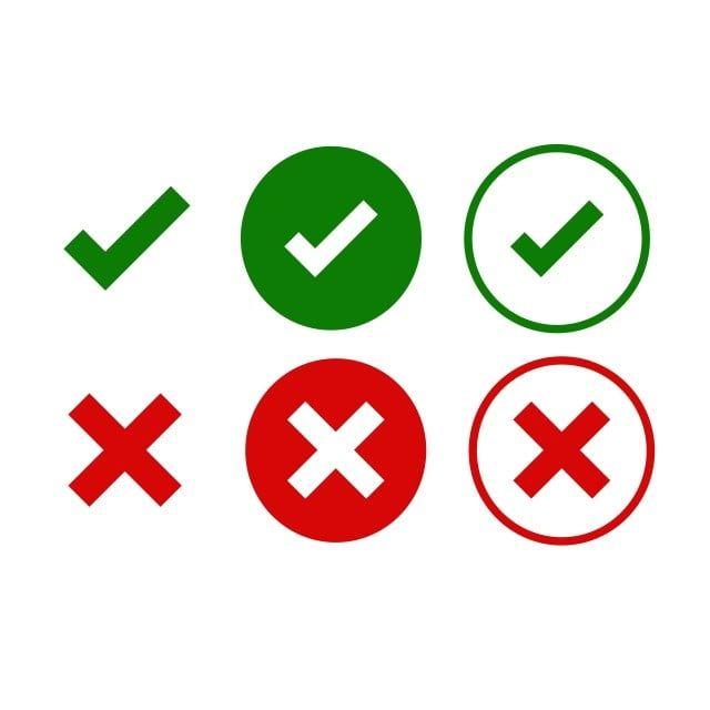 وضع علامة وعلامات متقاطعة علامة اختيار خضراء موافق وأيقونات X حمراء معزولة على خلفية بيضاء علامات بسيطة رموز تصميم الرسوم نعم ولا زر للتصويت ق Imagens De Iphone Vetores Png