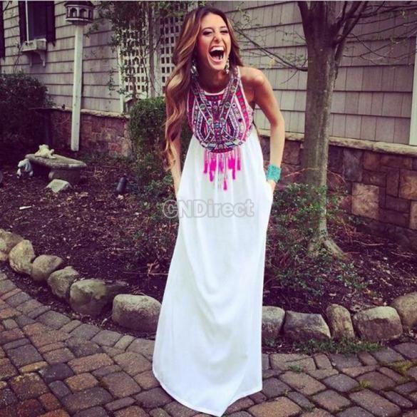 New Fashion Women Sleeveless O-Neck Casual Chiffon Print Vintage Style Long Dress